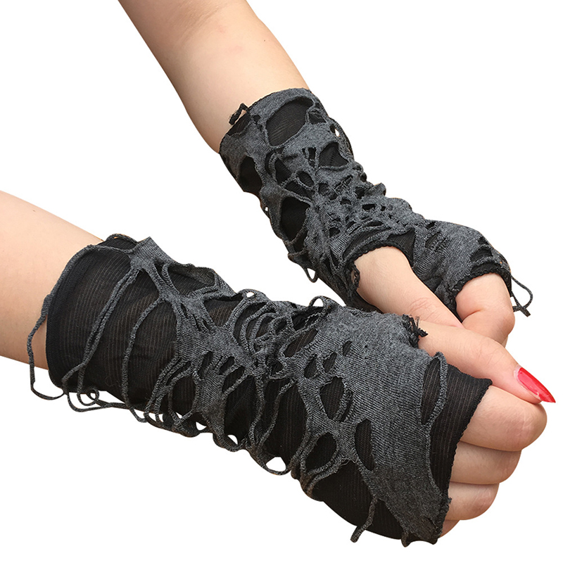 Gothic Punk Halloween Gloves 1Pairs Black Ripped Holes Fingerless Gloves Shabby-Style Arm Cuff Unisex Party Dress Up Accessories
