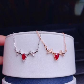 Merry christmas gift deer sled red ruby gemstone pendant of necklace girl necklace 925 silver certified real natural ruby gift