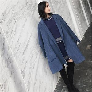 Image 2 - 2019 New Autumn and Winter Wool Jacket Women Loose Korean Cashmere Coat Mid long Woolen Coat Female NS1449