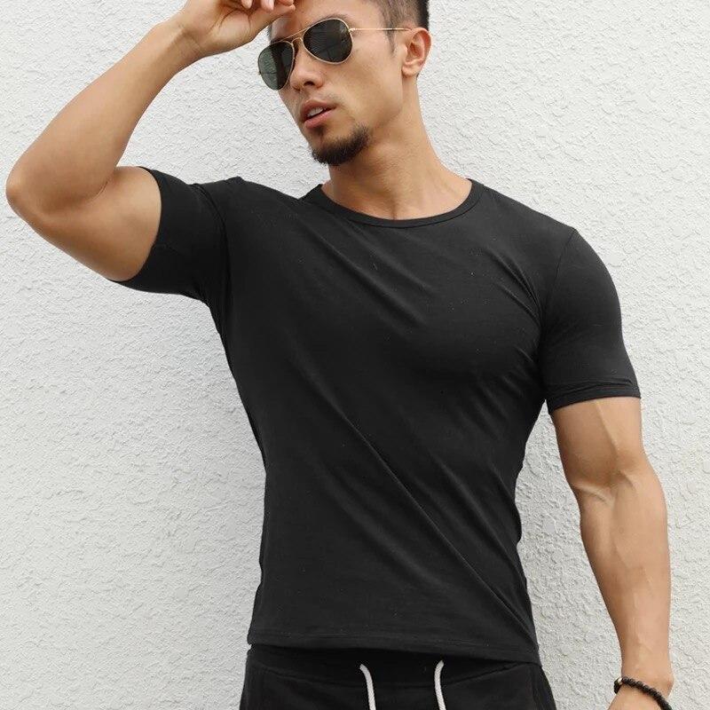 JS980J-Workout fitness men Short sleeve t shirt men thermal muscle bodybuilding wear compression Elastic Slim exercise clothing