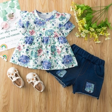2pcs Baby Girl Short-sleeve Cotton Sweet Floral Baby's Sets