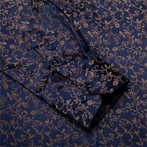 Image 5 - Barry. wang Gold Weiche Seide Shirts Männer Herbst Langarm Casual Blume Shirts Für Männer Anzug Party Designer Fit Kleid Hemd BCY 06