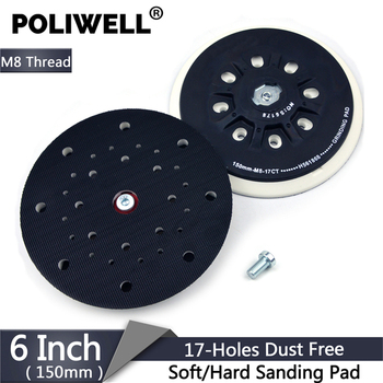 POLIWELL 6 Inch 150mm Back-up Sanding Pad M8 Thread for Hook and Loop Sanding Disc Dust Free Grinding Pads Festool Sander Pad 6 inch 150mm 17 hole dust free m8 thread back up sanding pad for 6 hook