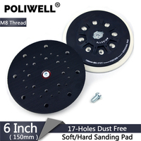 POLIWELL 6 inch 150 mm Back up Sanding Pad M8 Thread for Hoop and Loop Sanding Disc Dust Free Abrasive Disk Festool Sander Pad