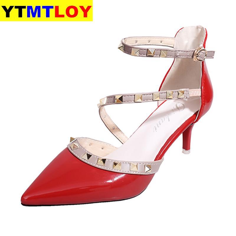 2020 New Pumps Women Shoes Nude Color Rivet High Heels Sandals Ankle Strap Poinet Toe Women's Ladies Sexy Heels Ladies