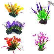 Decorazione acquario Ornamento di Plastica Piante Artificiali Fish Tank Decoration Acquatico Prodotti per animali domestici aquario acuario accessorio(China)