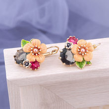 Segar Enamel Glasir Gray Kristal Alloy Anting-Anting Wanita Fashion Korea Kecil Serbaguna Temperamen Kuning Bunga Anting-Anting(China)