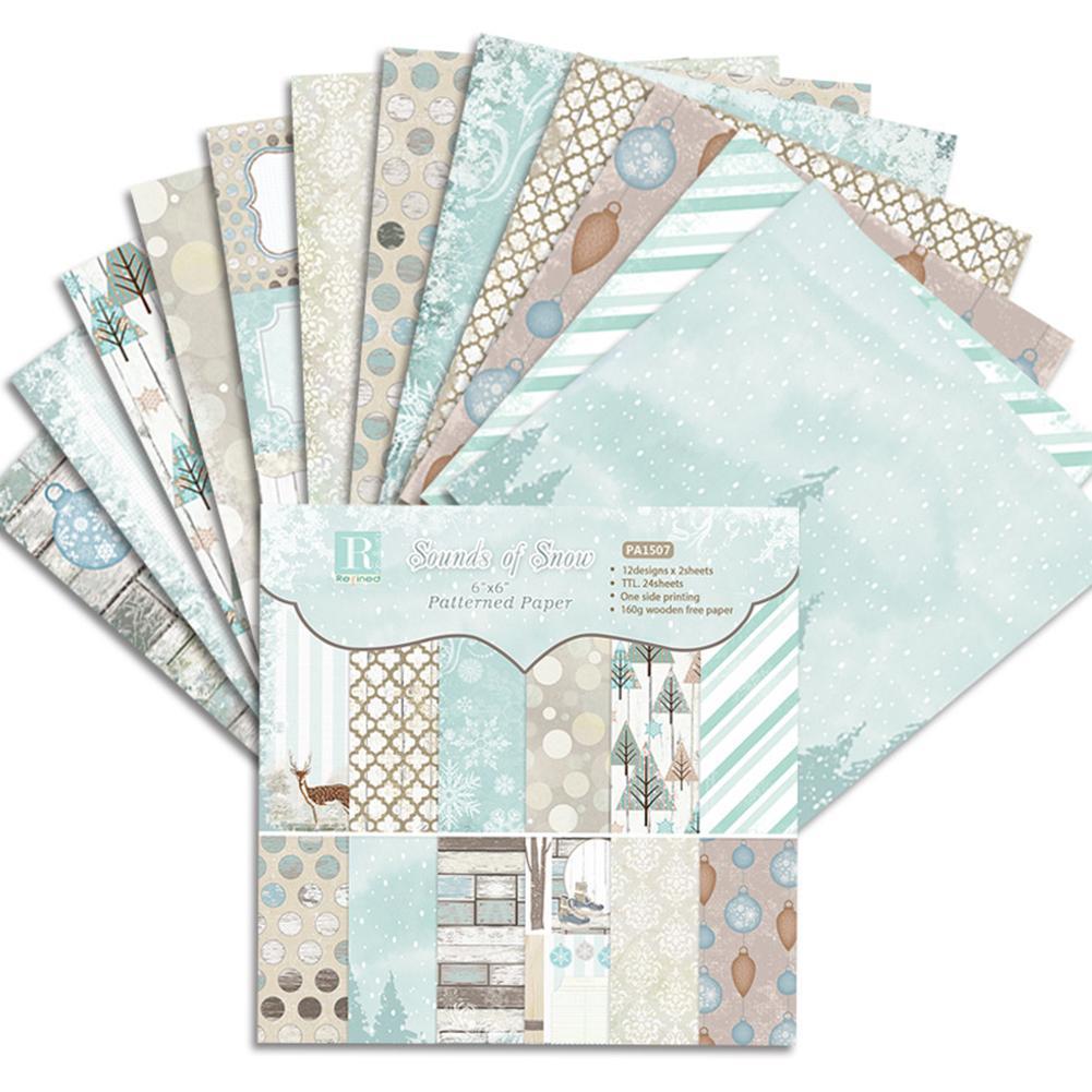 24PCS/Set Paper Craft DIY Photo Album Scrapbook Paper Account Card Making Background Paper 6 Inch Single-Sided Pattern Paper