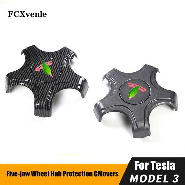 FCXvenle عجلة مركز قبعات ل تسلا نموذج 3 سيارة محور العجلة 5 مخلب واقية يغطي 4 قطعة تعديل السيارات اكسسوارات التصميم