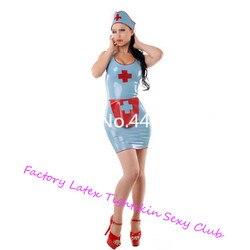 Vestido de látex enfermeira trajes sexy látex saias apertadas de borracha com avental de látex e boné trajes de halloween para mulher