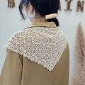 Korea Süße Spitze Schal frauen Dreieck Schals Floral Knit Foulard Femme Einfarbig Kopf Schal Hohl Halstuch Hijab Schal