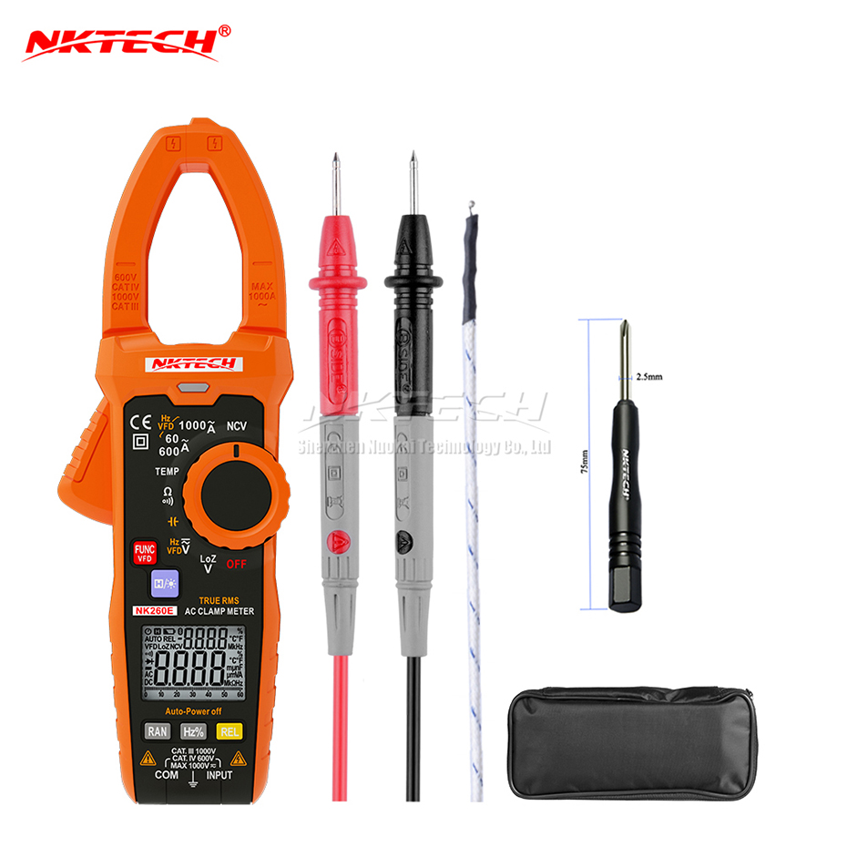 NKTECH NK260E Digital Clamp Meter Analogue Bar Graph Ture RMS Temperature LowZ 1000V AC DC Volt Ammeter 1000A OHM Frequency 10mF-in Clamp Meters from Tools    1