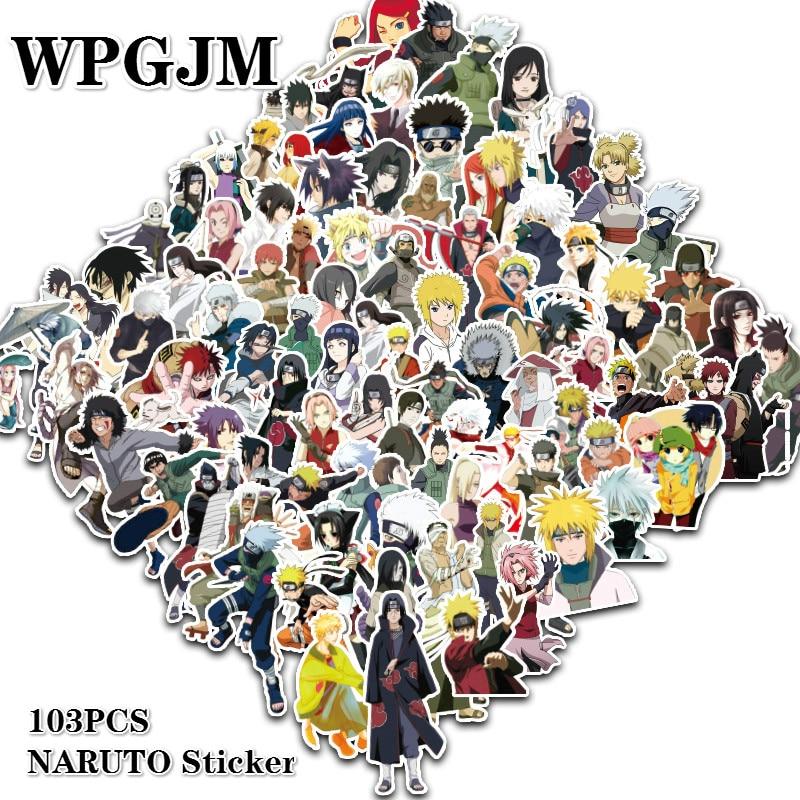 100Pcs/lot Sticker Japan Anime Naruto Stickers Cartoon For Snowboard Laptop Luggage Fridge Car- Styling Vinyl Decal Stickers