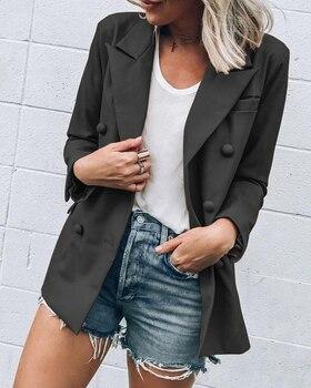 Women Slim Casual Business Suit Work Jacket Long Sleeve Coat Outwear Tops Work Casual Solid Black Ployester
