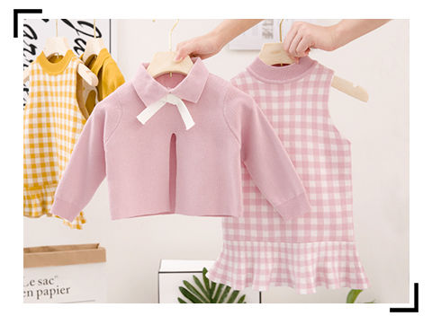 2020 Baby Girl Fashion Clothing Set Cute Bow Sweaters+plaid Dress,girls Infant Elegant Clothes Sets Children Party Birthday Wear 11
