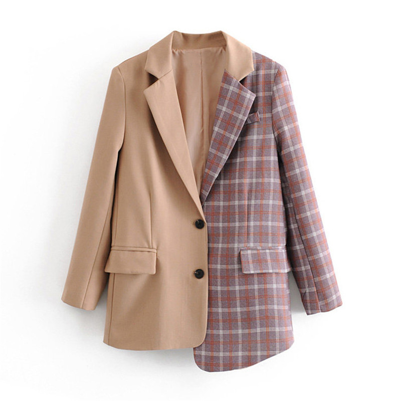 Solid Patchwork Plaid Elegant Women Blazer Oversize Chic Plaid Asymmetry Jacket Single Breasted Office Lady Work Coat Outwear