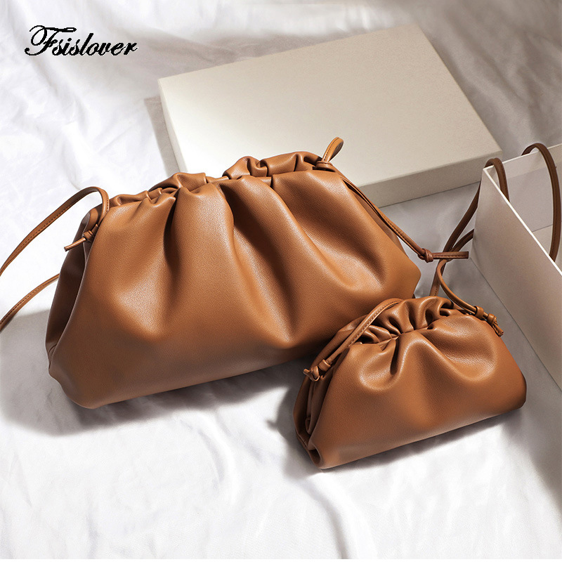 FSISLOVER Soft PU Leather Women's Crossbody Bag Dumpling Fashion Clutch Four Color Shoulder Bags For Female 2019