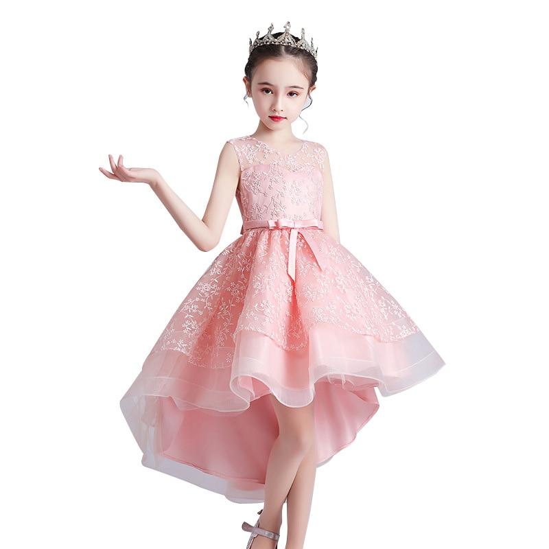 Flower Kids Dresses Teenage Wedding Party Dress Lace Mesh Girl Dress First Feast Elegant Prom Dress 3-12 Years Children Clothing