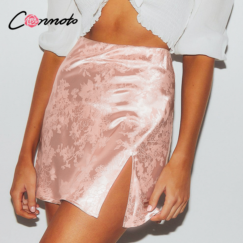 Conmoto casual high waist satin mini club sexy women skirts slit plus size femme skirt short summer 2020 floral pink skirt image