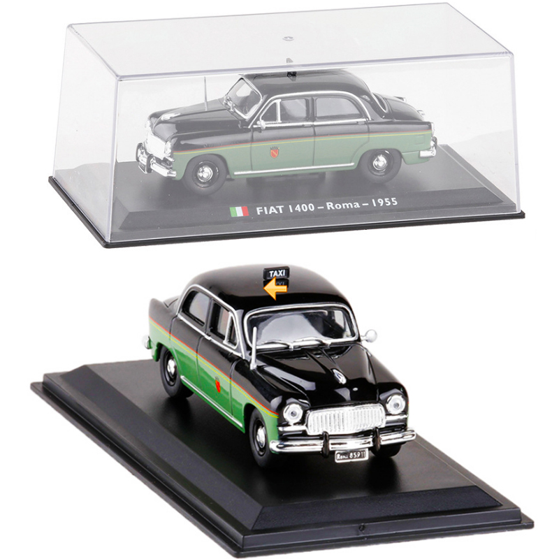 <font><b>1</b></font>:<font><b>43</b></font> 1955 TAXI <font><b>Fiat</b></font> 1400 Roma Diecast Alloy Italian <font><b>Car</b></font> <font><b>Model</b></font> Cab Classic Matel Vehicle with Original Box Children Toys Gifts image