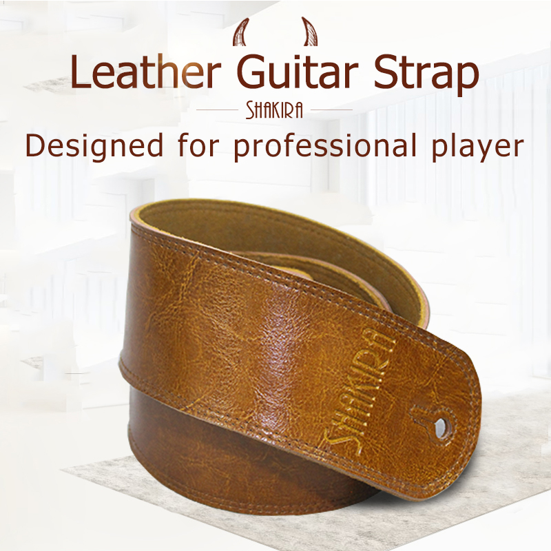 Guitar Strap Leather Electric Guitar Acoustic Guitar Belt Bass Lock Ukulele Button Vintage Guitar Accessories Cowhide Adjustable