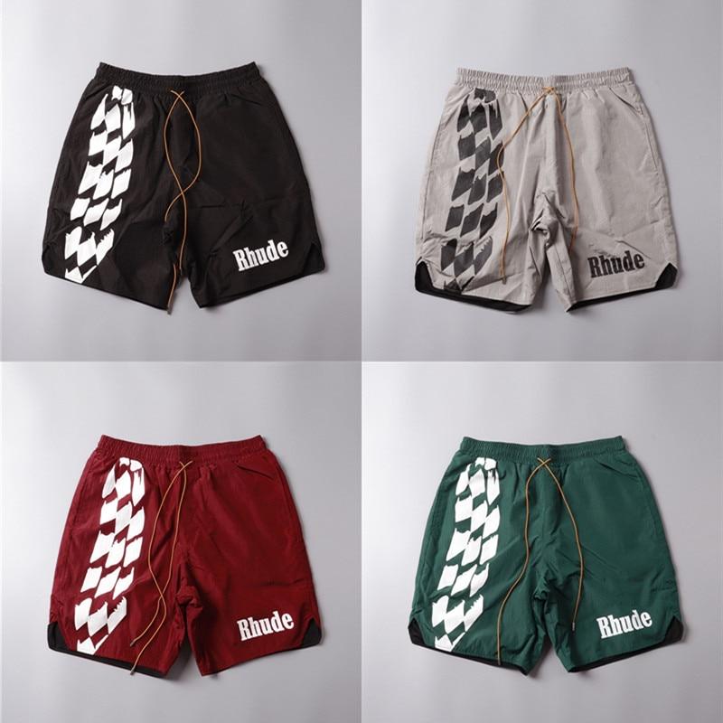 Streetwear RHUDE Racing Track Printing Beach Shorts Men Women 1:1 High Quality Summer Mesh Breechcloth Mesh Lining RHUDE Shorts