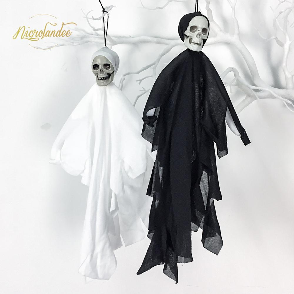 NICROLANDEE Cloth Halloween Mini Skull Hanging Ghost Pendant 2019 New Shocking Bar Props Haloween Decoration Party Decor 200
