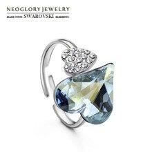 Neoglory Австрийские хрустальные и чешские Стразы, регулируемое обручальное кольцо на палец, двойное сердце, любовь, подарок, Bijoux Lady