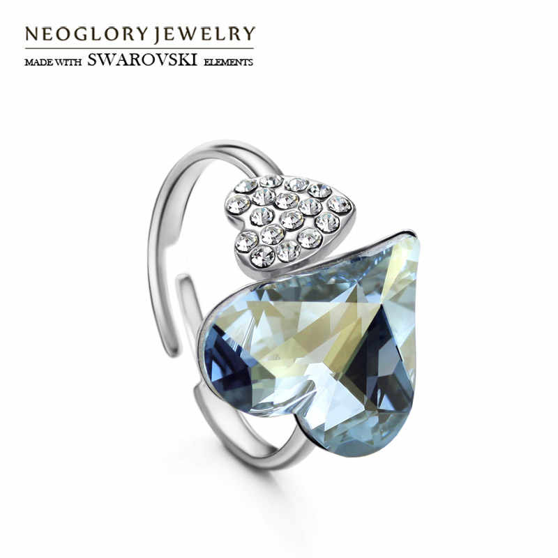 Neoglory Austria Crystal & Czech Rhinestone Adjustable Engagement Charm Finger Ring Double Hearts Love Gift Bijoux Lady