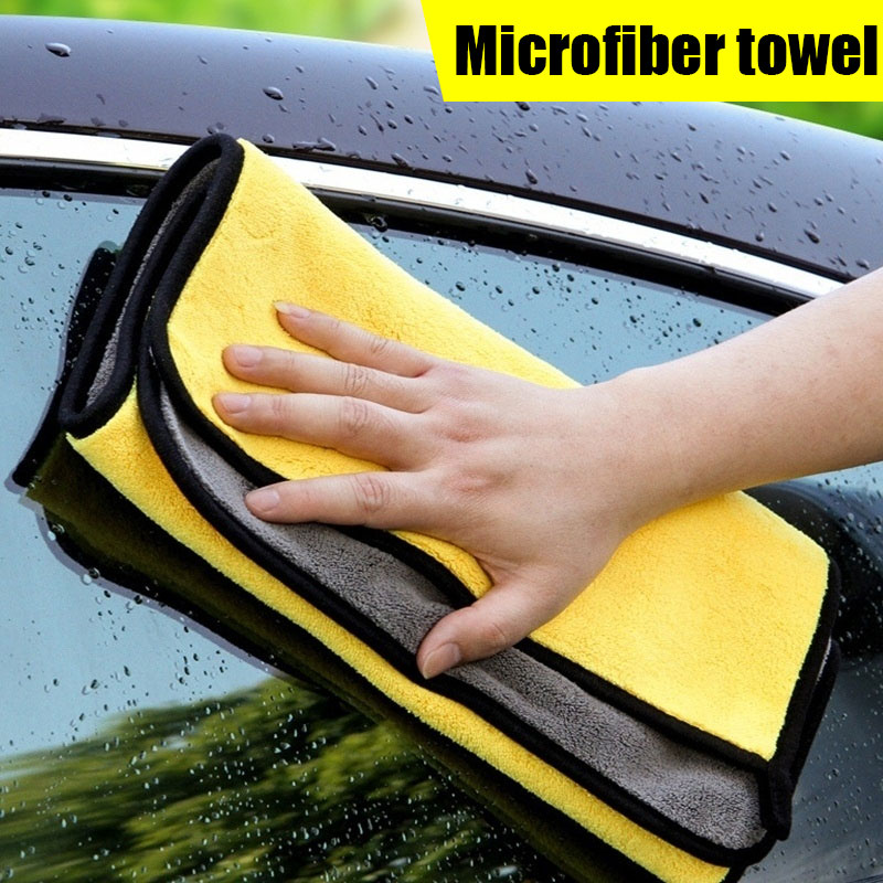 Vehemo Double-Sided Car Microfiber Towel Soft Towel Super Absorbent Wiping