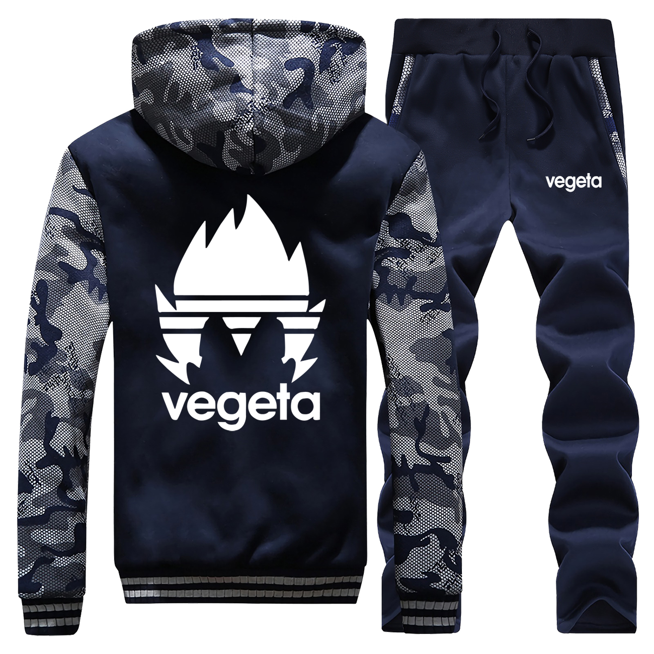 Japanese Anime Dragon Ball Z Hoodies Cool Saiyan Vegeta Camo Hoodies Pant Sets Mens Fashion Sweatshirt Casual Fleece Sportswear