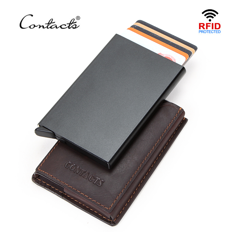 CONTACT'S Crazy Horse Leather RFID Credit Cardholder Carteira Business Automatic Pop Up Slim Card Wallet RFID Box Pasjeshouder