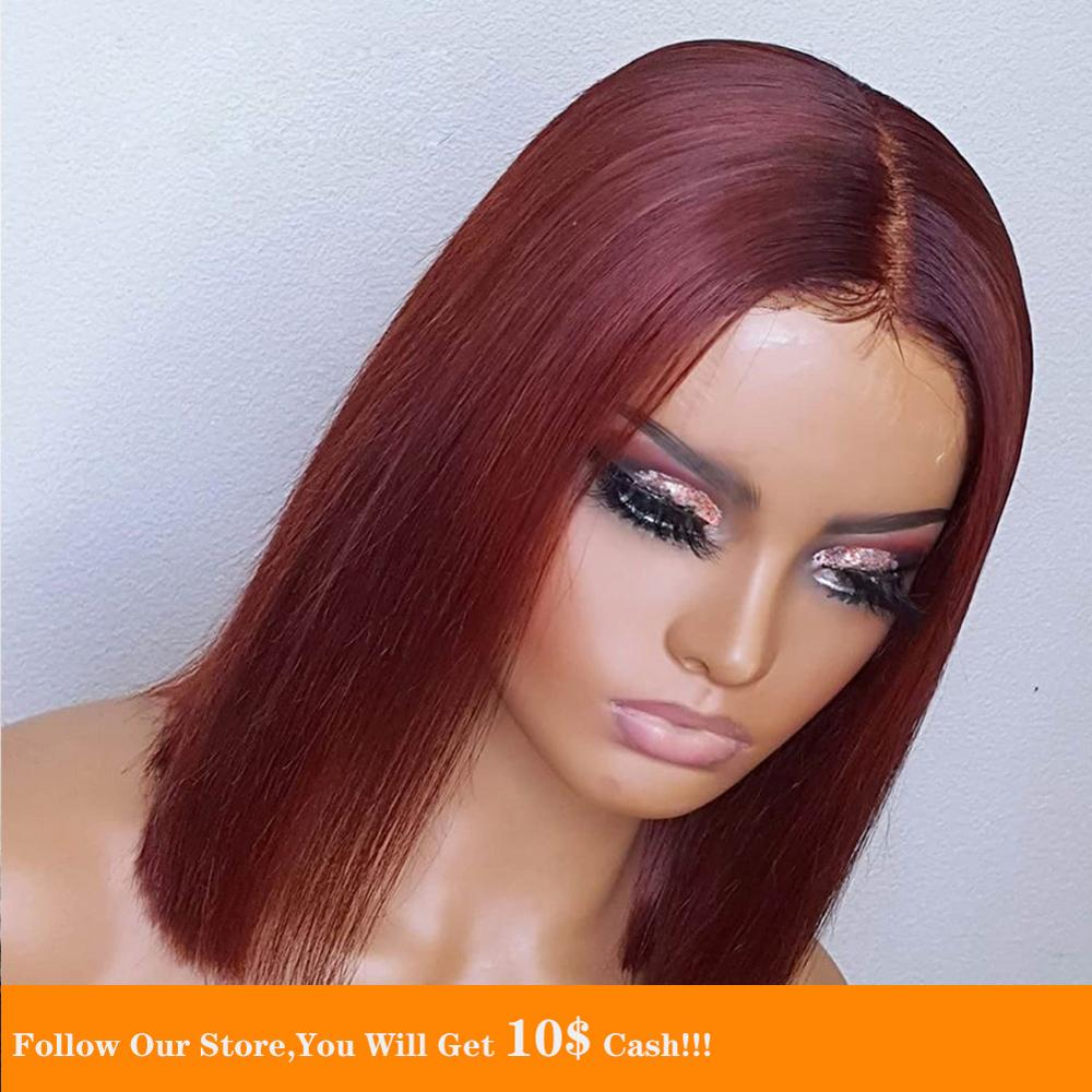 Short Bob 13x6 Lace Front Human Hair Wigs 99J/Burgundy HD Brazilian Straight Preplucked Remy Hair Wig With Natural Hairline