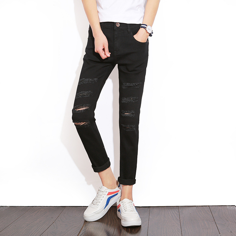 Clothing Ripped Pants Men'S Wear Cowboy Summer Black Jeans Men Capri Jeans Japanese-style Men's Trousers