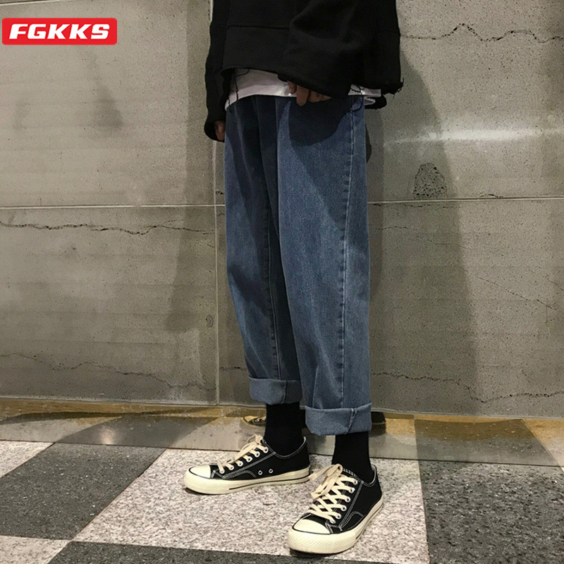 FGKKS Summer New Men Retro Jeans High Street Men's Fashion Ankle-Length Pants Male Casual Straight Jeans Brand Clothing