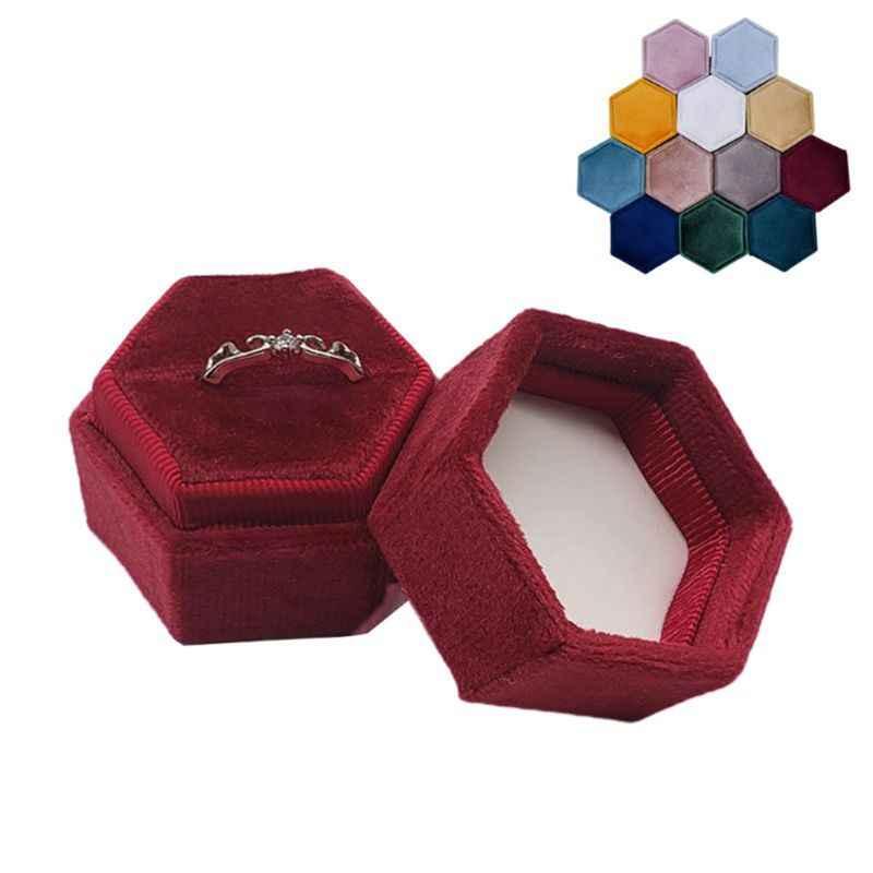 مسدس صندوق خاتم قطيفة حلقة واحدة عرض حامل مع غطاء قابل للفصل حلقة حامل الصندوق لعيد الحب