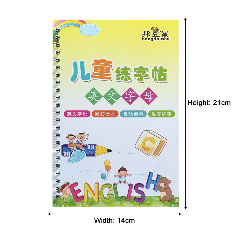 New 26 English letters Reusable Copybook For Calligraphy Learning English Handwriting ractice Book For kids School Students Book 4