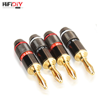 HIFIDIY LIVE 4PCS/Set 4mm Pure Copper Gold Plated Banana Plug Connector For Audio Video Speaker Adapter Terminal Connectors Kit