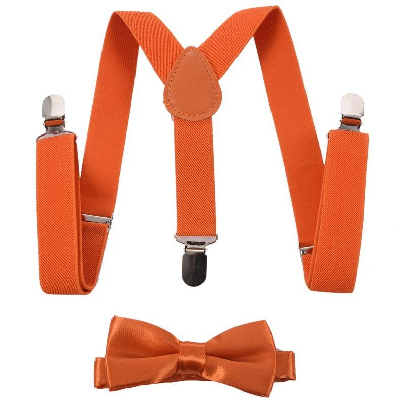 Children Kids Boys Girls Clip-on Suspenders Elastic Adjustable Braces With Cute Bow Tie Orange