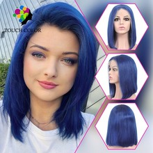 Blue Bob Ombre Lace Front Wig Color Human Hair Lace Wig Short Brazilian Wig Glueless Lace Wigs Pixie Cut Wig For Black Women cute fluffy short boy cut human hair side bang wig for women