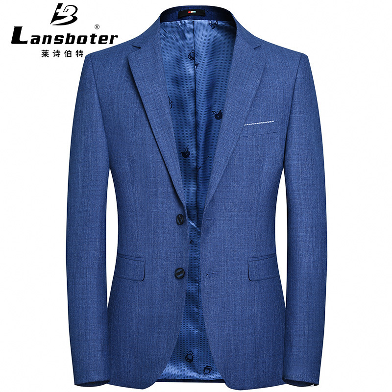 Lansboter Spring And Autumn New Style MEN'S Casual Suit Solid Color Simple Young And Middle-aged Korean-style Suit Then West MEN