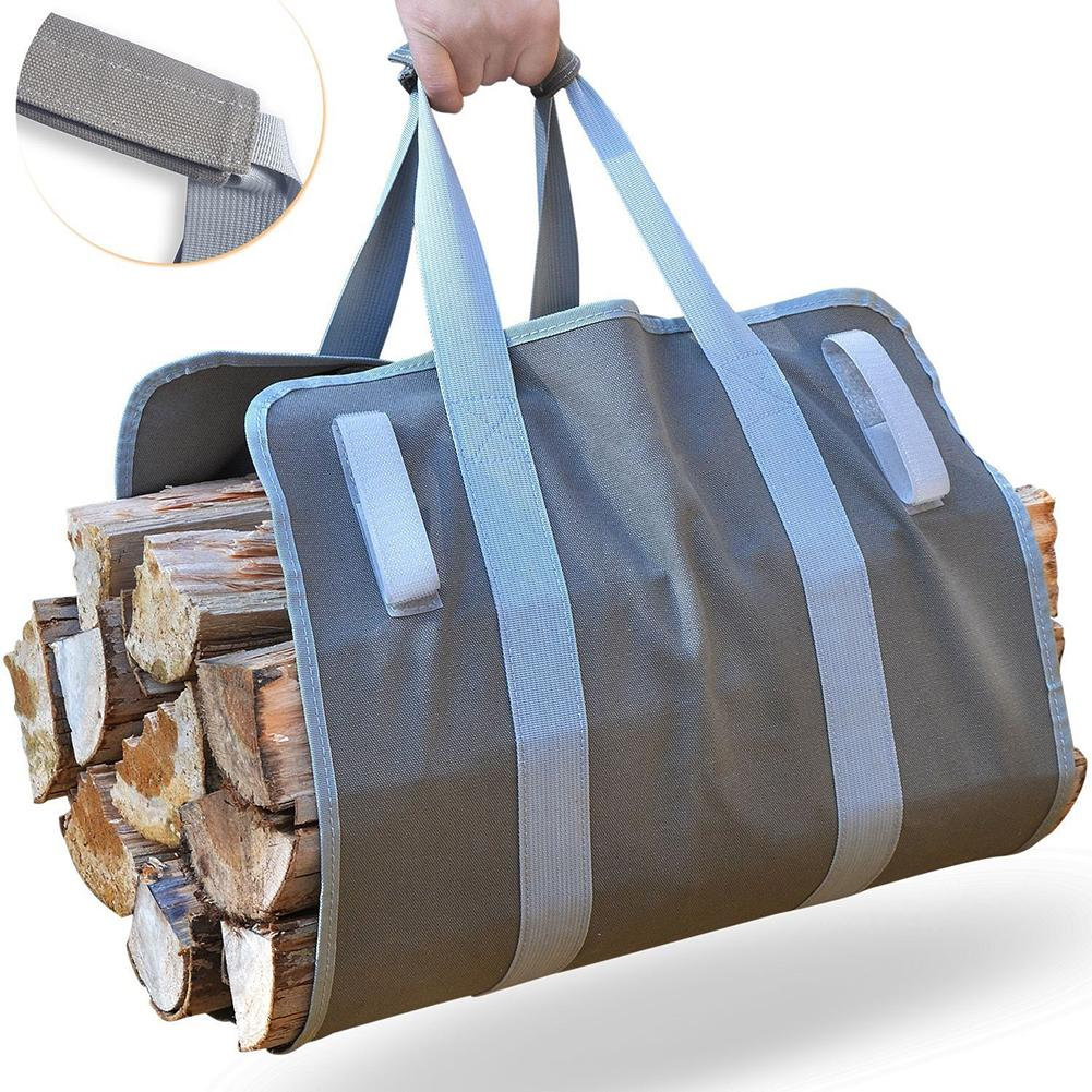 Supersized Canvas Firewood Wood Carrier Bag Log And Sling Tote Heavy 11oz Padded Handles Camping Outdoor Holder Storage Bag
