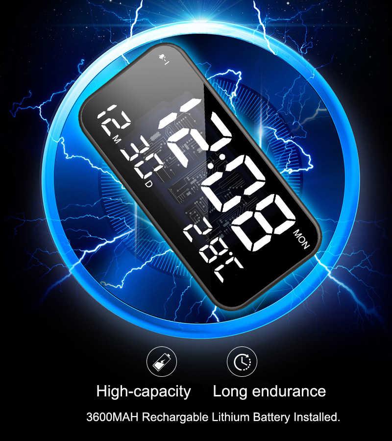 寝室充電式ビッグ led 音楽アラーム時計とスヌーズ、カレンダー、温度計、音制御光