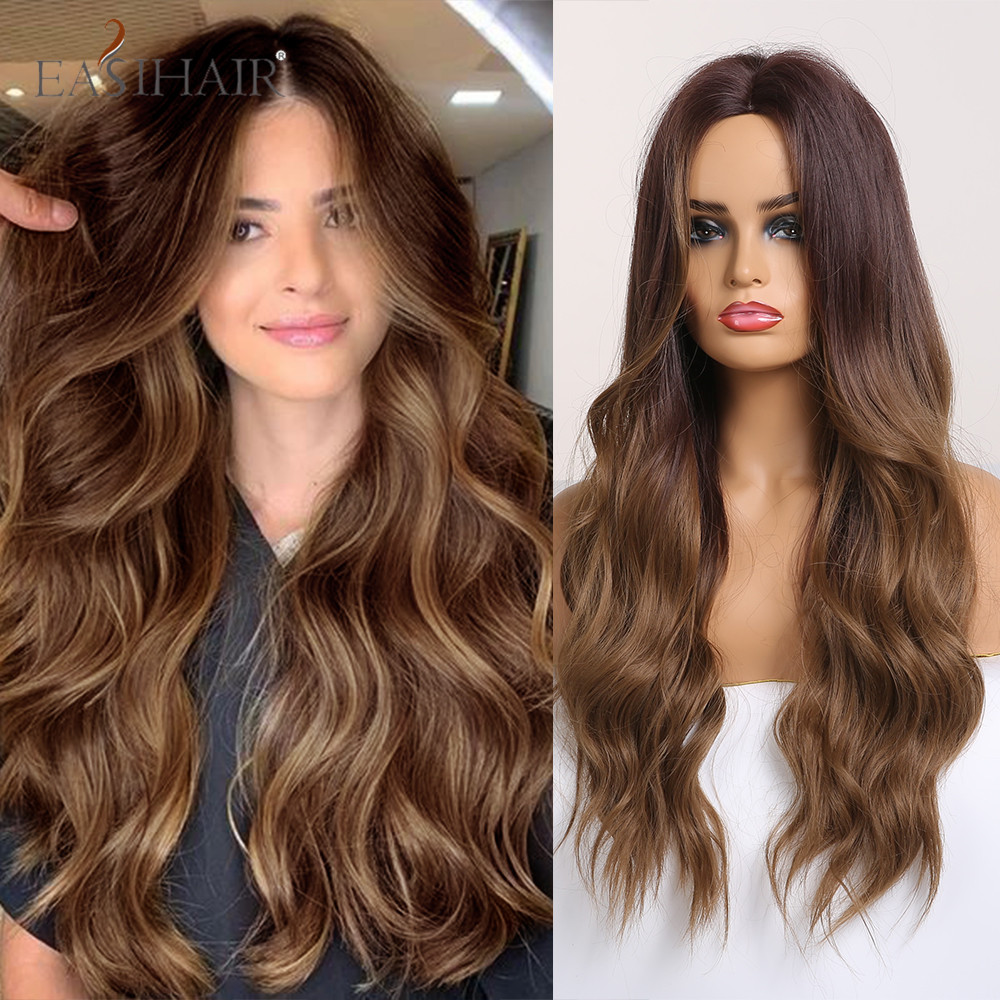 EASIHAIR Long Ombre Brown Synthetic Wigs Middle Part Wavy Wigs For Black Women Heat Resistant Fiber Cosplay Natural Hair Wigs