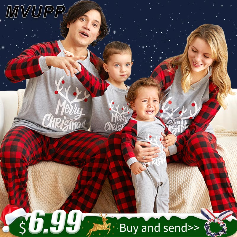 Christmas Pajamas Cartoon Family Matching Outfits For Dad Mom Kids Cotton Print Set Plaid Baby Sleepwear Winter Clothes Romper