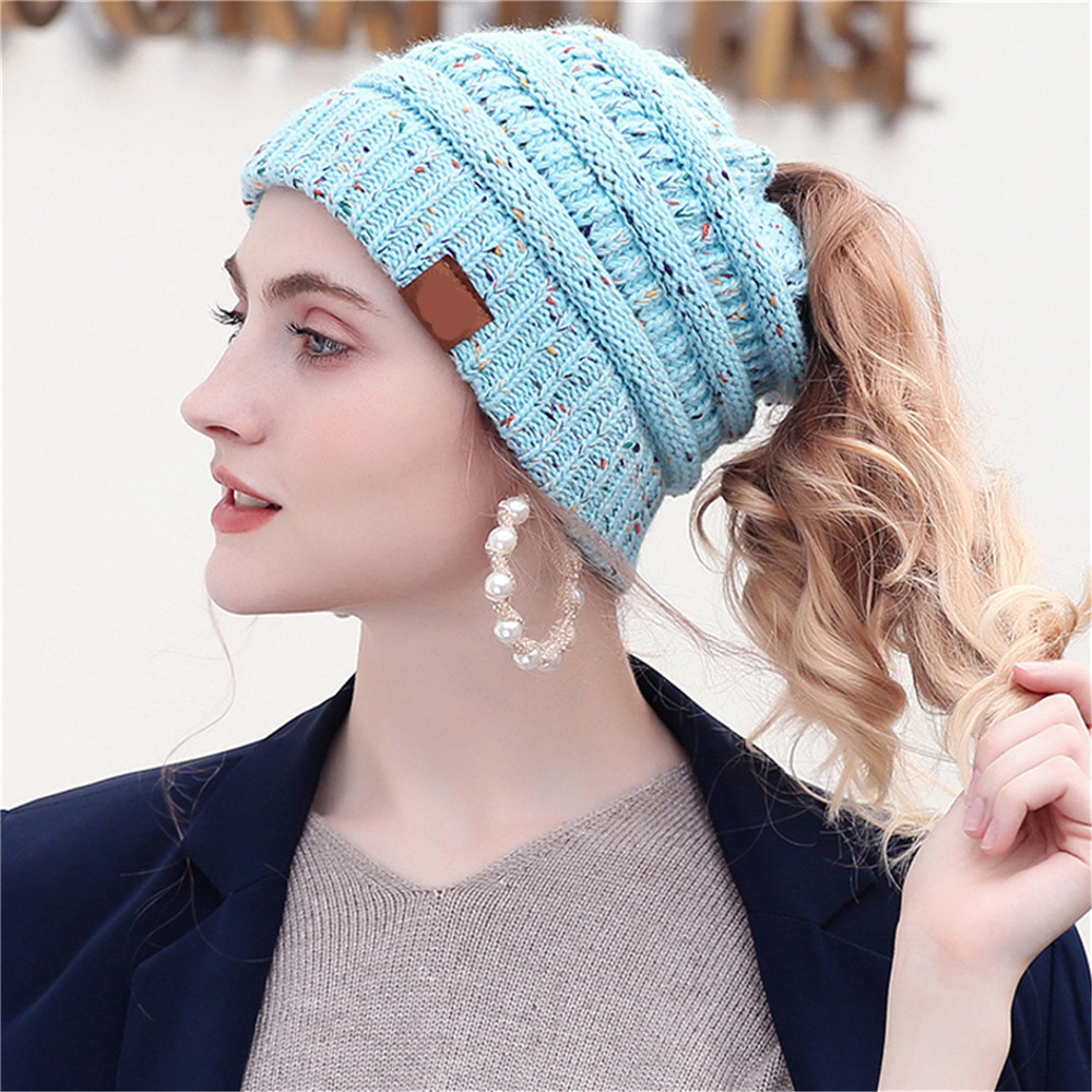 25 Colors Confetti Ponytai L Beani E For Women Crochet Knit Cap Skullies Beanies Warm Caps Female Knitted Stylish Hat With Tag