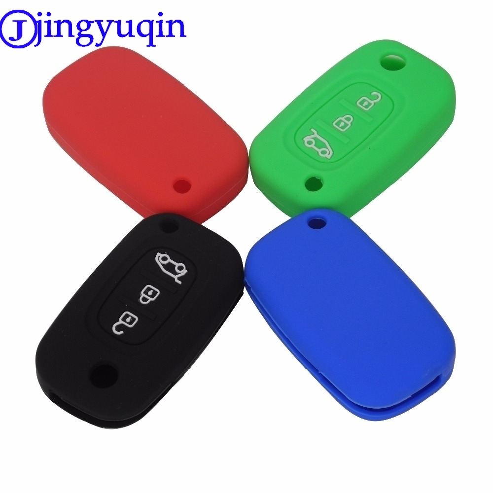 Jingyuqin 3 Buttons Silicone Car Key Case Cover For LADA Priora Sedan Sport Kalina Granta Vesta X-Ray XRay For Renault