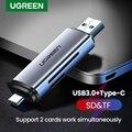 Ugreen кард-ридер USB 3,0 & Type C для SD Micro SD TF кард-ридер для ноутбуков Аксессуары смарт-кард-ридер памяти SD кард-ридер
