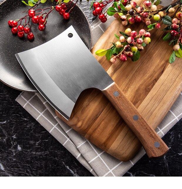 Dao Bếp 6.5 Inch Nặng Chặt Xương Dao Bộ Ăn Thịt Dao Cán Gỗ 5CR15 Thép Không Gỉ