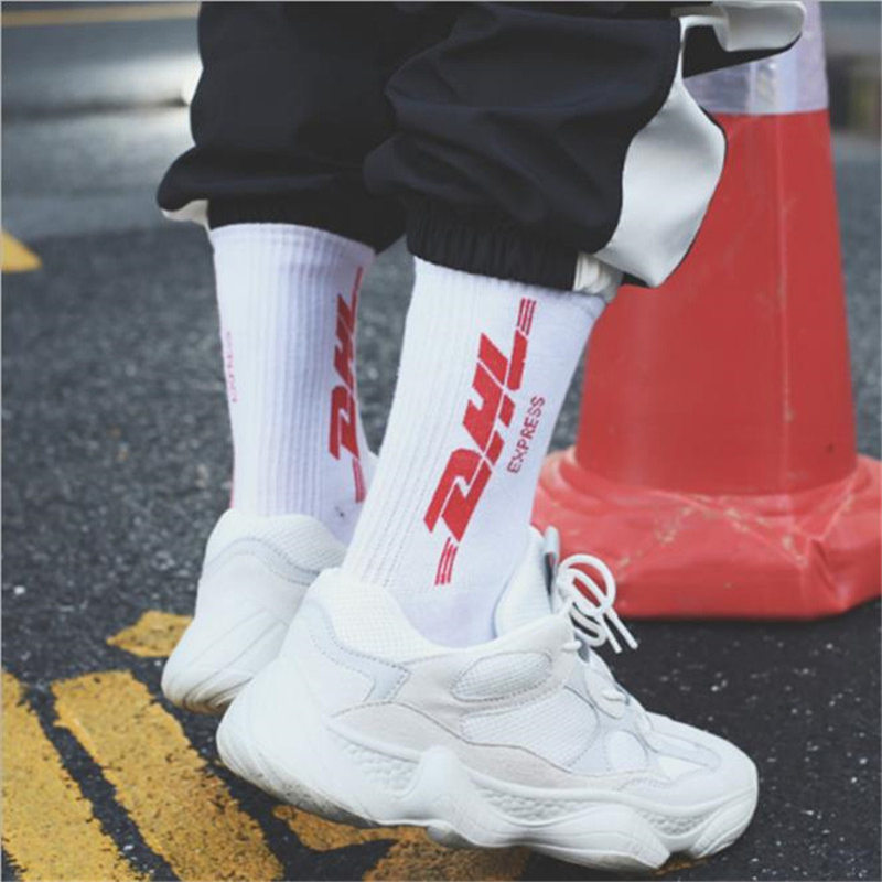 2019 Autumn Winter 10pcs=5pairs Trend Street Sports Socks Men DHL Letter Print Socks Casual Cotton Socks Unisex Dropshipping